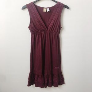 Billabong Burgundy Fit & Flare V Neck Dress